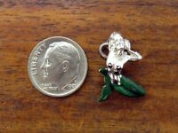 Vintage sterling silver MYTHICAL MERMAID ENAMEL GREEN TAIL PENDANT charm #M