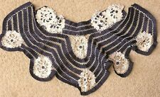 "Vintage 1930s Ladies Dress Collar Trim Lace Flower Inserts in Black Fabric 24"" w"