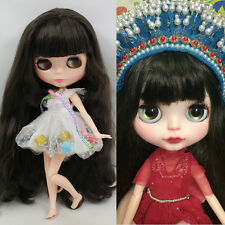 """12"""" Blythe Nude Doll With Long Beautiful Black Hair 30cm Height New Gifts"""