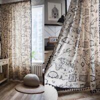 Boho Tassel Curtains Map Living Room Bedroom Cotton Linen Curtain Window Drapes