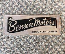 Vintage Car Dealer Sticker BROOKLYN CENTER Benson Motors Decal Auto Emblem