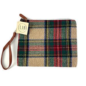 LIB New York Clutch Bag Tartain Plaid Zipper Closure Pouch Purse Brand New