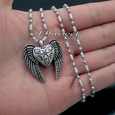 Angel Wing Heat CZ Cremation Keepsake Memorial Urn Stainless Steel Pendant Chain