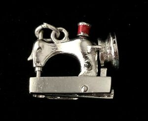 Vintage Sterling Silver Moveable Sewing Machine Charm 7.6 Grams