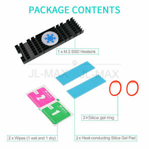 Aluminum Heatsink for PCIe NVMe M.2 2280 SSD with Silicone Thermal Pad Black