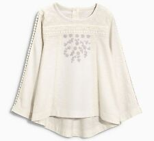 ВNWT NEXT Tunic Top • Ecru Embroidered Jersey Blouse • 100% cotton • 4-5 Years