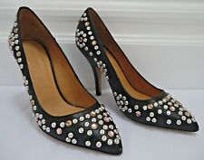 NEW ISABEL MARANT $800 Clemence black leather silver studded heels pumps size 37