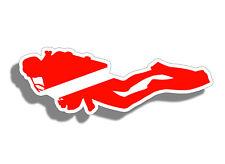 Scuba Diver Down Silhouette Sticker Car Boat Cup Laptop Dive Flag Vinyl Decal