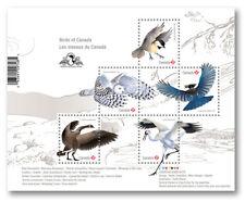 2018 Birds of Canada: Souvenir Sheet Overprint of 5 domestic stamps