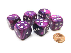 Festive 20mm Big D6 Chessex Dice, 6 Pieces - Violet with White Pips