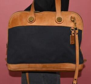 VTG DOONEY & BOURKE Blue Canvas British Tan Leather Messenger Crossbody Bag USA