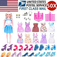 Doll Clothes Lot Party Gown Outfits Accessories Barbie Girl Xmas Gift 50 Pc New