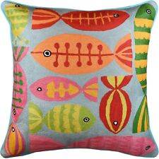 Modern Fish Turquoise Suzani Decorative Pillow Cover Handembroidered Wool 20x20""