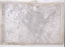 1864 LARGE ANTIQUE MAP ~ BIRMINGHAM CITY PLAN WORKHOUSE STATIONS EDGBASTON
