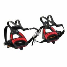 VP VP-399TM Road Bike Pedals With Integrated Toe Clips Cages Straps, Red x Black