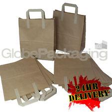 """2000 MEDIUM BROWN KRAFT PAPER CARRIER SOS BAGS 8x4x10"""" TAKEAWAY FOOD PARTIES"""