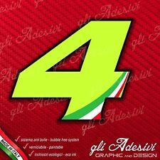 Adesivo Stickers NUMERO 4 moto auto cross gara Verde Acido Kawa & Tricolore