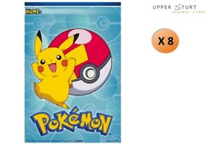 Pokemon Loot Bags 8 Pack Favours Plastic Party Supplies FREE SHIPPING