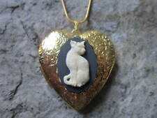 KITTY CAT CAMEO GOLD PLATED HEART SHAPED LOCKET - HANDMADE - UNIQUE - CAT LOVER