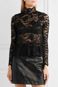 Ganni 240$ Flynn Lace turtleneck Top in Black Size 38 6 US
