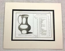 1821 Antique Engraving Ancient Phoenician Glass Jug Florence Museum Gallery
