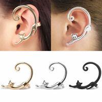Cute Cat Climb Clip Ear Cuff Stud Women Punk Wrap Cartilage Earring Jewelry Gift