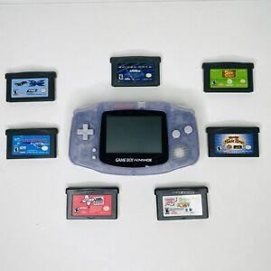 Nintendo Game Boy Advance AGB-001 Handheld Clear Glacier + 7 Games Bundle