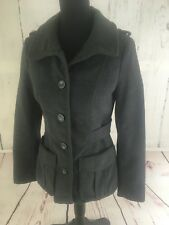 H&M Women's Size 6 Peacoat Winter Jacket (No Hood) Charcoal Gray Button Up