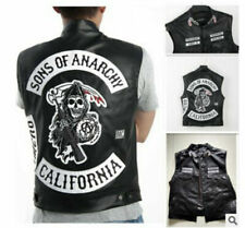 Mens Sons Of Anarchy Leather Jacket Vest Jackets Motorcycle SOA Vests Tops 2021