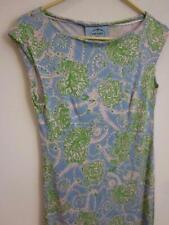 PRADA Lightweight Bodycon Ostrich Bird Print Sz 40 IT 4 US Sleeveless Dress Blue