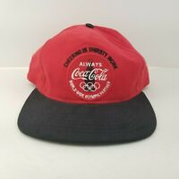 VTG Cheering Thirsty Work Always Red 96 Olympic Coca Cola Coke Snapback Hat Cap