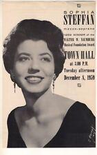S 00006000 ophia Steffan Mezzo-Soprano Concert Flyer 1959 Town Hall New York