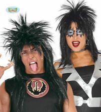 Adults Black Spikey Punk Rocker Wig Glam Rock Retro 80s Fancy Dress Accessory