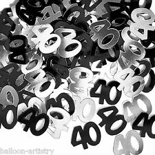 2 Packs 40th Birthday Confetti Foil Sprinkles BLACK SILVER