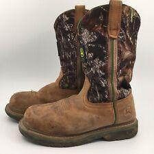 """JOHN DEERE Mens 11"""" Mossy Oak Camo Leather Wellington Boots JD4348 Size 6.5 W"""