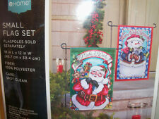 Christmas Outdoor Flag Set of 2  SANTA & SNOWMAN Nylon  NEW