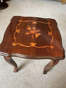 Small Square Decorative Wine Table, Side Or Sofa Table In Mahogany Colour