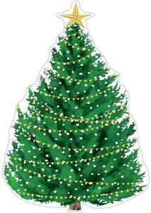 Caspari Die-Cut Gift Tags, Christmas Tree with Lights, 2 Packs (TAG9771)