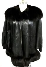 Leather Cocoon Coat MARVIN RICHARDS J PERCY Womens M Black Fur Collar ULTRA 80s