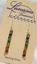 LUNASEA TREASURES CHAKRA RAINBOW GLASS BRASS BEAD STERLING SILVER DANGLE EARRING