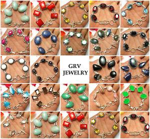 Sodalite Mystic Topaz Ruby Amazonite Gemstone Bracelets 925 Silver Plated U187B