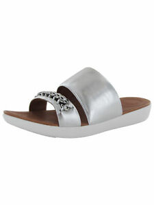 Fitflop Womens Delta Chain Leather Slide Shoes, Silver, US 11