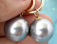 HOT Huge AAAA+ 16mm Gray South Sea Shell Pearl Earring 14K Gold Hoop
