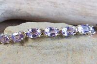 "Sterling Silver Oval Purple Amethyst Tennis Bracelet 7.25"" High Quality! #672"