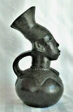 Vintage Mangbetu Figural Clay Vessel Pitcher Royal African Tribal Art