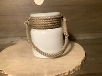 """WHITE Glass Jar Vase with Rope Handle Nautical Beach Decor APPROX. 7 X 6"""""""