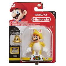 "World of Nintendo 4"" Cat Mario Action Figure w/ Bell Super Mario Brothers"