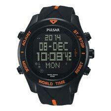 Pulsar Mens Digital Watch SPORTS 100M Chrono World Time Alarm and Light PQ2037X1