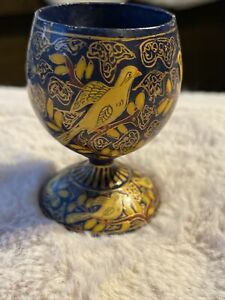 Vintage Handlainted Wooden Egg Cup Folk Art Blue Yellow Bird