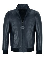 RACER Mens Leather Jacket Semi Veg Tanned Navy Casual Italian Lambskin Tops A26
